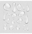Transparent water drop set on light gray vector image vector image