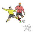 two soccer players fighting for a ball vector image vector image
