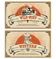 Vintage frame western cards vector image