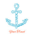 anchor travel and summer vacation icons vector image