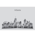 Atlanta city skyline silhouette in grayscale vector image vector image