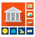 bank and money symbol set vector image