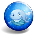 Blue badge with happy whale vector image vector image