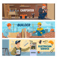 carpenter builder and electrician workers vector image vector image