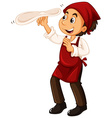 Chef with red apron making pizza vector image