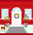christmas house outdoor decorations snowy weather vector image