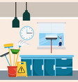 cleaning room cabinet drawers window clock bucket vector image