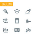 cook icons line style set with microwave cooking vector image
