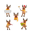 cute cartoon christmas reindeer character party vector image vector image