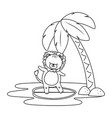 cute lion enjoying summer time cartoon vector image