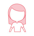 cute pink women upperbody cartoon vector image vector image