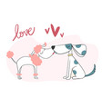 cute two dog kissing vector image