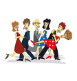 Dancing couples cartoon vector image vector image