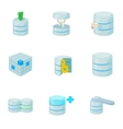Data protection icons set cartoon style vector image