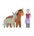 donkey horse farmer with hat vector image vector image