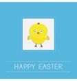 Easter chicken Dash line frame Blue background vector image vector image