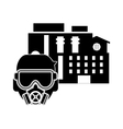 factory and gas mask icon vector image
