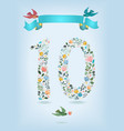 floral number ten with ribbon and birds vector image