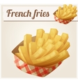 French fries in the paper basket Detailed vector image