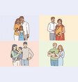 happy families with children concept vector image