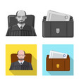 isolated object of law and lawyer icon collection vector image vector image