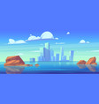 landscape with water and city on skyline vector image