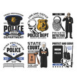 law and order jurisprudence and police icons vector image