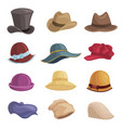 men and women hats flat set vector image