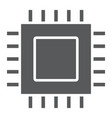 microchip core glyph icon electronic and digital vector image vector image