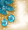 New Year decoration with hanging balls on fir vector image vector image