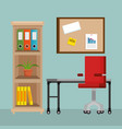 office workplace scene icons vector image vector image