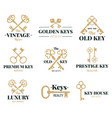 old keys emblems vintage door keys labels real vector image