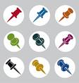 Push pins icons set simplistic symbols collection vector image vector image