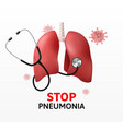 realistic stethoscope lungs research banner vector image
