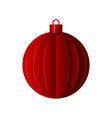 red paper christmas origami ball design vector image