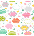 seamless pattern with clouds and star vector image vector image