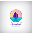 seaside sailboat in the sea sunset vector image