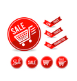 Set of sale tag circle banner ribbon paper 001 vector image
