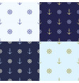 Set of seamless pattern with anchor ship steering