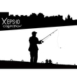 Silhouette of fisherman with fishing rod on pier vector image