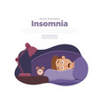 sleepless man face cartoon character suffers from vector image