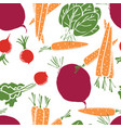 sweet carrots radishes beetroot seamless pattern vector image