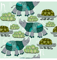 turtle and rhinos vector image vector image