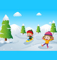 two kids playing with snow vector image vector image