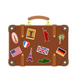 vintage old travel suitcase vector image vector image
