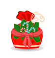 winter sack with stripe branch with bow and ribbon vector image
