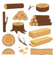 wood trunks stacked lumber material trunk twig vector image