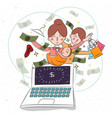 mother and her baby childern on laptop business vector image