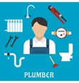 Plumber with tools and equipment flat icons vector image