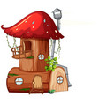a mushroom wooden house vector image vector image